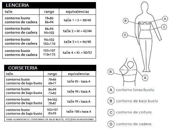 tabla de talles y medidas